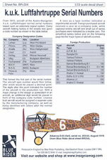 Blue Rider Decals 1/72 AUSTRO HUNGARIAN WWI AIR FORCE SERIAL NUMBERS