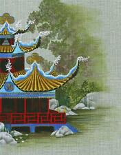 Leigh Design Pagoda ~ Pavilion of the Great Sea handpaint Needlepoint Canvas  SO