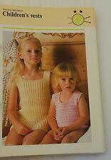 Knitting Pattern 4 Ply Child's Vests 2 Styles 6 Stitch Patterns 50 - 65cm