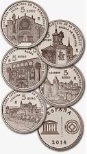 ESPAÑA colección 5 x 5 euros plata 2014 proof I SERIE UNESCO CIUDADES PATRIMONIO