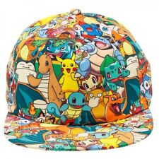 POKEMON ALL OVER PRINT SNAPBACK HAT CAP GROUP PHOTO SUBLIMATED PIKACHU CARTOON