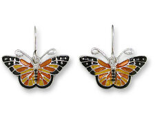Zarah Zarlite Monarch Butterfly EARRINGS Enamel Silver Dangle Orange - Boxed