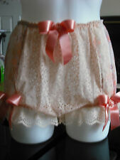 FRENCH VTG STYLE PEACH & CREAM NYLON NET  SISSY KNICKER/PANTIES SIZE L