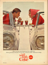 1965 Vintage ad for Coca-Cola`60's Car`Classic Coke Glasses (121413)