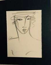 Original pencil graphite abstract line drawing of woman/signed