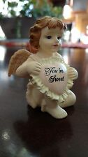 "Vintage Valentine's Day Angel Cupid ""You're Sweet"" Resin Figurine -Heart - Rare"