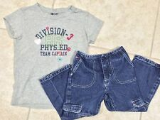 ☀️Girls Outfit Set Gap Gray T-Shirt Top M 8 & Tommy Hilfiger Blue Denim Jeans 4T