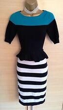 Exquisite Karen Millen Colour Block Peplum Bodycon Knitted Dress UK14