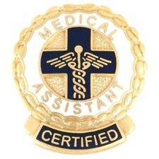 Certified Medical Assistant Lapel Pin CMA Caduceus Cross Medical Gold Plate 1074