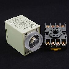 220VAC Power On Delay AH3-3 Time 0-60 min Relay With Socket Base PF083A
