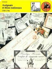 FICHE CARD Assignats & Biens Nationaux 1785-1796 Planche à Billets France 90s