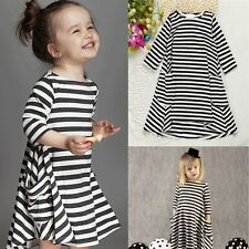 Toddler Baby Girls Kids Long Sleeve Striped Princess Party Tutu Dress For 2T-3T