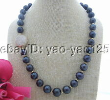 S051414 12MM-14MM Black AA Pearl&Cz Fitting Necklace
