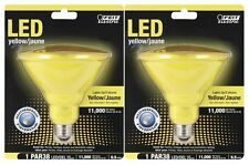 (2-Pack) LED YELLOW Feit WEATHERPROOF Indoor Outdoor PAR38 FLOOD Light Bulbs
