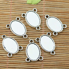 16pcs tibetan silver plated 2side oval cameo cabochon setting connector EF1973