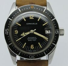 VINTAGE Caravelle Sea Hunter Mens 35mm Automatic Steel Divers Style Watch Arrow