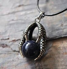 Leather Necklace Blue Goldstone Dragon Claw Pendant Reiki Healing Chakra Gem