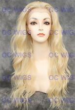 Platinum Blonde Long Wavy Lace Front Heat OK Synthetic Wig Yvonne in 613