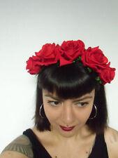 Serre-tête couronne de fleurs roses rouges catrina calavera coiffure pinup