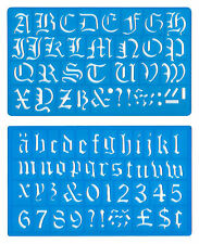 30mm OLD ENGLISH UPPER LOWER CASE ALPHABET NUMBERS STENCIL TEMPLATE SET mb