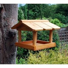 HANGING WOODEN BIRD TABLE GARDEN BIRDS PET TREE BRACKET HANG FEEDING STATION HBT