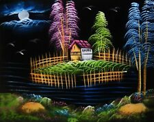 """Painting On Velvet Cloth Beautiful Hut surrounded by Water 19""""X16"""" Best Price"""