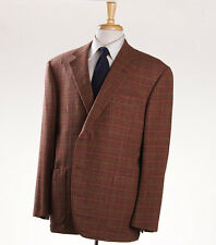 New $4495 OXXFORD HIGHEST QUALITY Rust Brown Check Pure Cashmere Sport Coat 46 R