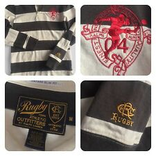 RUGBY Ralph Lauren Outfitter Vintage Slim Fit Medium Shirt Brown Stripe Crest