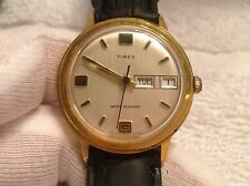 Vintage Men's Timex Day Date Gold Tone Hand Winding Watch New Leather Band Runs