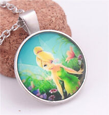 New Cute Fairy Girl Tinkerbell Portrait Dome Glass Silver Chain Pendant Necklace