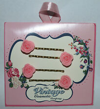 The Vintage Cosmetic Women's Set of 2 Pink Rose Bobby Pins **