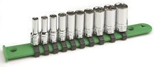 "SK Tools 10pc Fractional Semi-Deep Socket Set, 3/16-9/16"" 1/4""dr 6pt USA #41880"