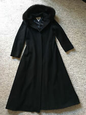 Marvin Richards Full Lenght Dress Wool Coat w/Fox Fur Trim Hood (Size 8)