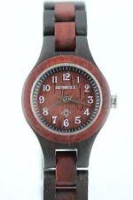 Bewell Holzuhr Damenuhr 26mm Sandelholz schwarz-rot A-Ware Top Geschenk Echtholz