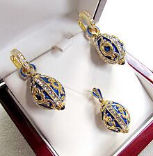 STUNNING ENAMEL EGG PENDANT & EARRINGS SET SOLID STERLING SILVER 925 & 24K GOLD