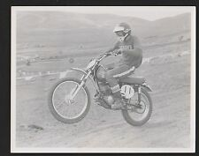 Vintage  Early 1970's MOTOCROSS  B&W 8X10 PHOTO #11 RACER ON YAMAHA DON & RAY'S