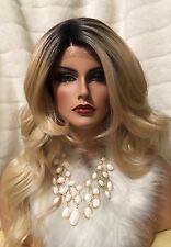 "Lovely Rooted Blonde Lace Front Wig 24"" Long With Layered Waves & Heat Friendly!"