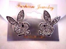 new men's/women's crystal playboy bunny stud earrings silver plated