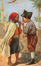 Riproduzione Cartolina Bambini 1912 Italia Bimbi che accendono una sigaretta