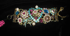 BETSEY JOHNSON PINK AND BLUE HEART AND BOW BLING BLING STATEMENT BRACELET