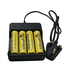 4 Pcs 18650 9800mAh 3.7V Li-ion Rechargeable Battery With 4.2V UK Charger Plug