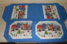 WYSOCKI Blue Christmas Town Table Runner & 8 Placemats