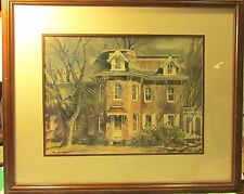 Water Color Print Art Ranulph Bye 1916-2003 Country Homes Trees  Bucks County PA