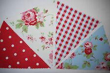 Rosali White and Blue & Red Polka Dot ,Blue Gingham fabric bunting Cath Kidston