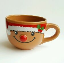 Gingerbread Man Coffee Mug Cup Brown Santa Hat Candy Land Decoration USA Seller