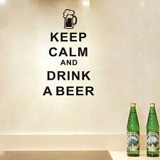 Removable Keep Calm And Drink A Beer Kitchen Character Quote Wall Sticker Decal