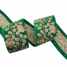 Sari Border Floral Green Trim Embroidered Velvet Ribbon 6.8 Cm Wide By The Yard