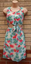 CAMEO ROSE LIGHT BLUE PINK WHITE FLORAL HALF BUTTONED CUT OUT SKATER DRESS 10 S