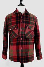 VTG 1950s Woolrich Woolen Mills Red Black Green Plaid Mothproof Mackinaw Jckt 42