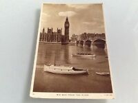 Old Postcard Big Ben From The River London